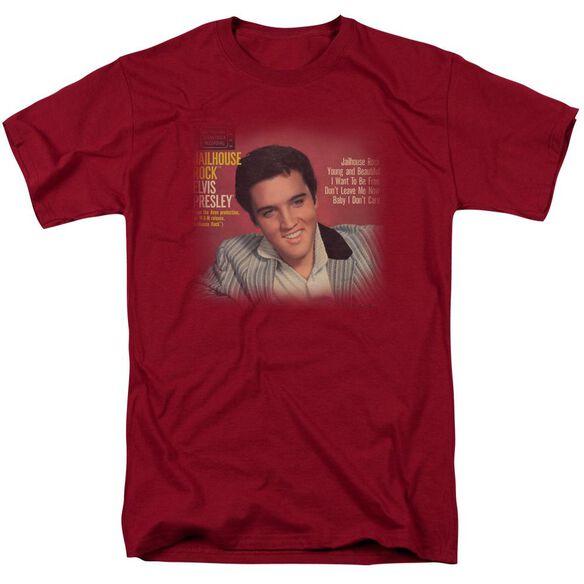 Elvis Jailhouse Rock 45 Short Sleeve Adult Cardinal T-Shirt