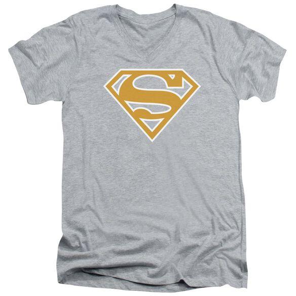 Superman Lt Orange & White Shield Short Sleeve Adult V Neck Athletic T-Shirt