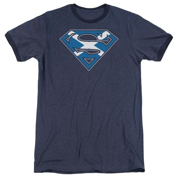 Superman Scottish Shield Adult Heather Ringer Navy