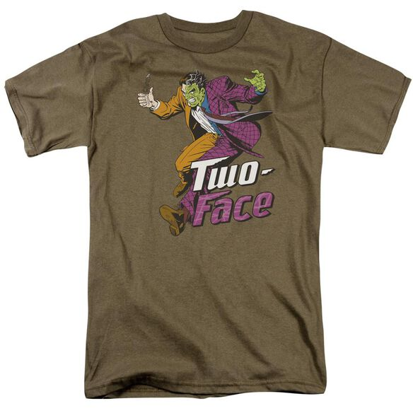 Dc Two Face Short Sleeve Adult Safari Green T-Shirt