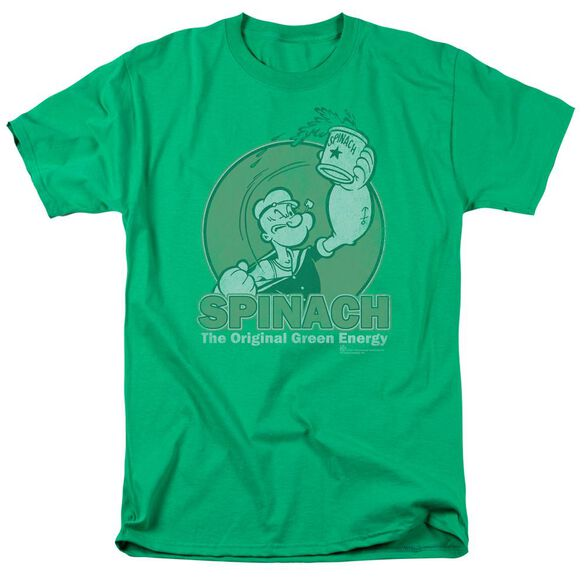 Popeye Green Energy Short Sleeve Adult Kelly Green T-Shirt