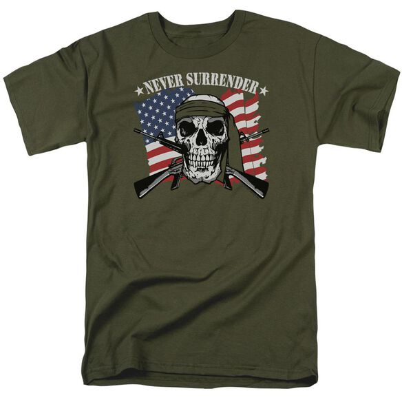 Never Surrender Short Sleeve Adult Military Green T-Shirt