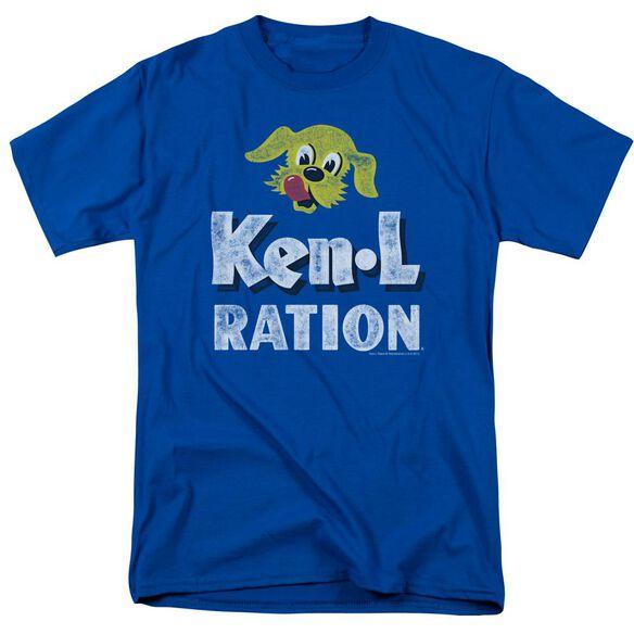 Ken L Ration Distressed Logo Short Sleeve Adult Royal T-Shirt