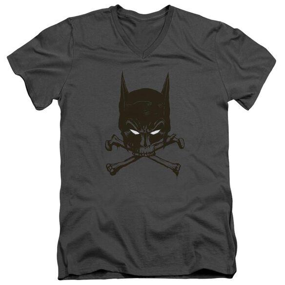 BATMAN BAT AND BONES - S/S ADULT V-NECK - CHARCOAL T-Shirt