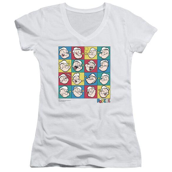 Popeye Color Block Junior V Neck T-Shirt