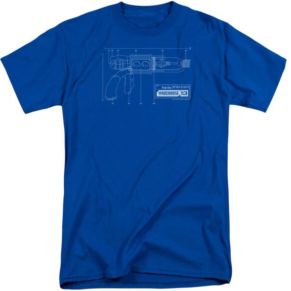 Warehouse 13 Tesla Gun Short Sleeve Adult Tall Royal T-Shirt