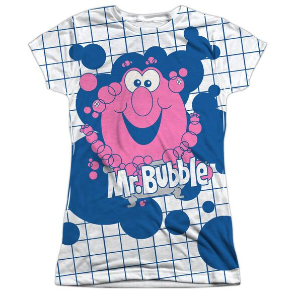 Mr Bubble Tub Time Short Sleeve Junior Poly Crew T-Shirt