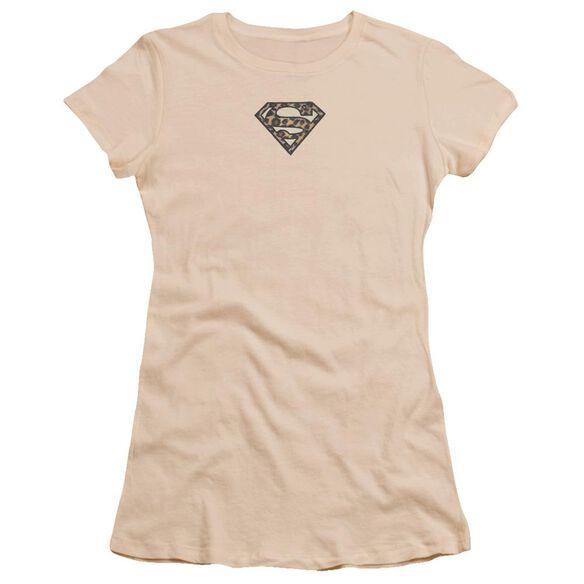 Superman Superman Faux Leopard Emblem Premium Bella Junior Sheer Jersey