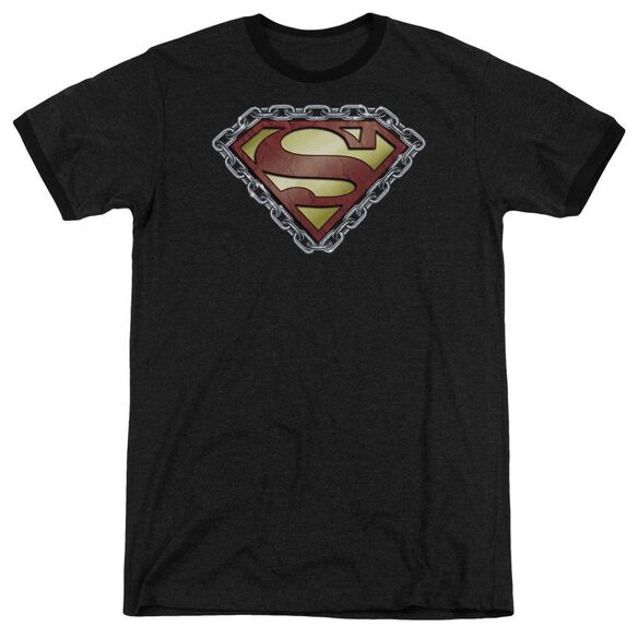 Superman Chained Shield Adult Heather Ringer