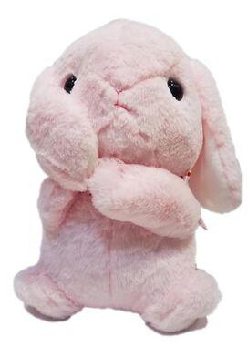 Pink Sitting Bunny Holding Ear Plush