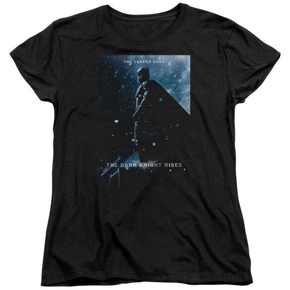 Dark Knight Rises Batman Poster Short Sleeve Womens Tee Black T-Shirt