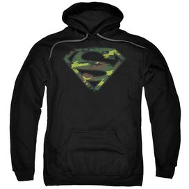 Superman Distressed Camo Shield Adult Pull Over Hoodie