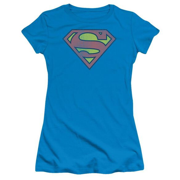 Dc Retro Supes Logo Distressed Short Sleeve Junior Sheer T-Shirt