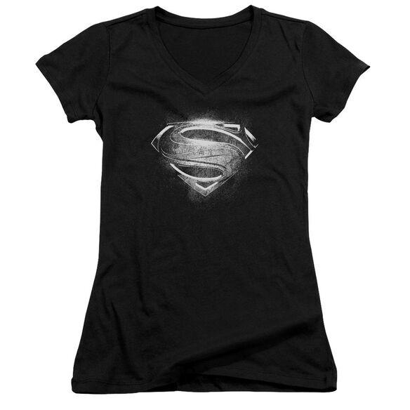 Man Of Steel Contrast Symbol Junior V Neck T-Shirt