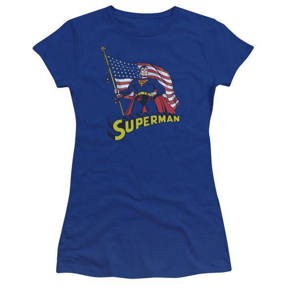 Superman American Flag Premium Bella Junior Sheer Jersey Royal