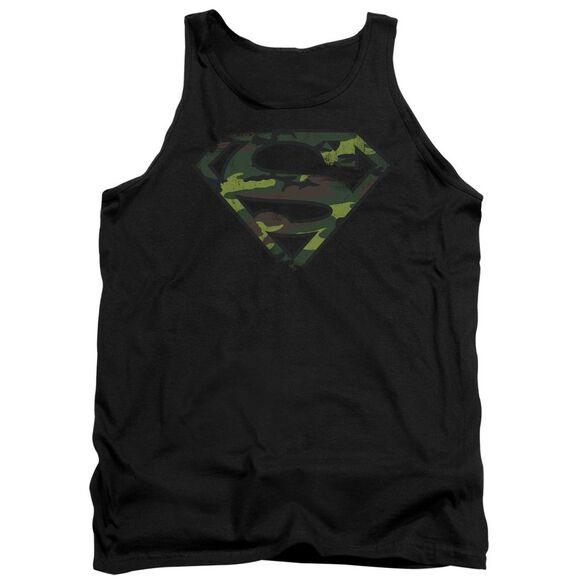 Superman Distressed Camo Shield Adult Tank