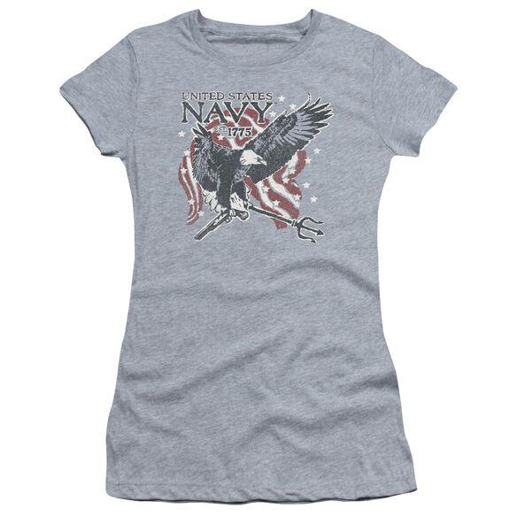 Navy Trident Short Sleeve Junior Sheer Athletic T-Shirt