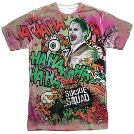 Suicide Squad Joker Psychedelic Cartoon Short Sleeve Adult Poly Crew T-Shirt