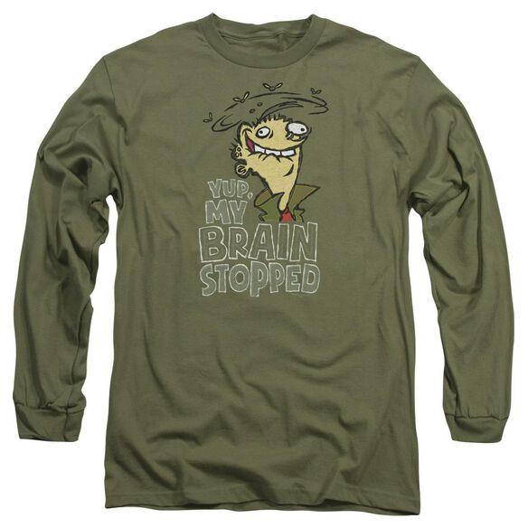 Ed Edd N Eddy Brain Dead Ed Long Sleeve Adult Military T-Shirt