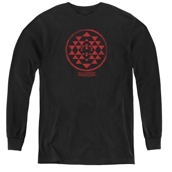 Bsg Red Squadron Patch - Youth Long Sleeve Tee - Black