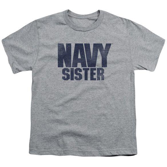 Navy Sister Short Sleeve Youth Athletic T-Shirt