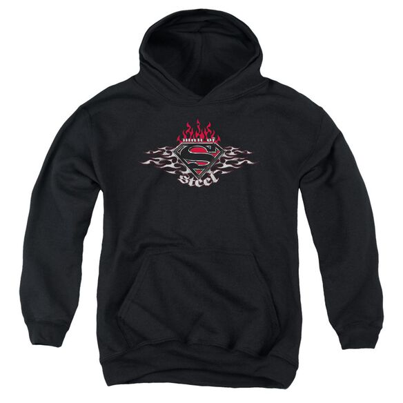 Superman Steel Flames Shield Youth Pull Over Hoodie