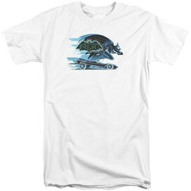 Beware The Batman With Batmobile Short Sleeve Adult Tall T-Shirt