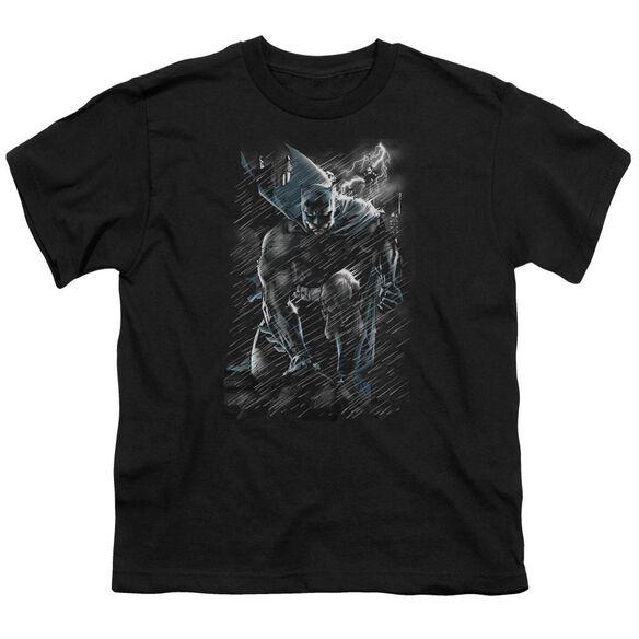 Batman In The Rain Short Sleeve Youth T-Shirt