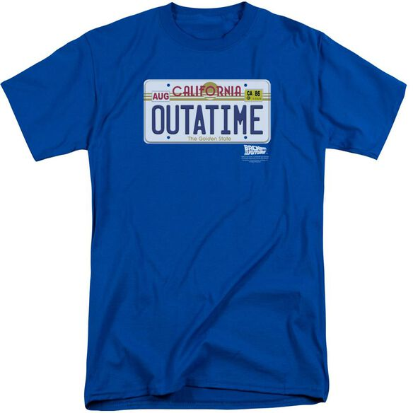Back To The Future Outatime Plate Short Sleeve Adult Tall Royal Royal T-Shirt