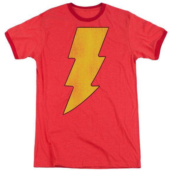 Dc Shazam Logo Distressed Adult Heather Ringer Red