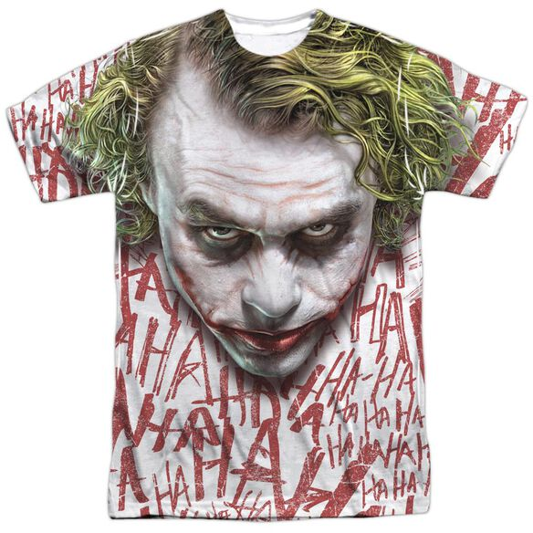 Dark Knight Joker Face Short Sleeve Adult Poly Crew T-Shirt