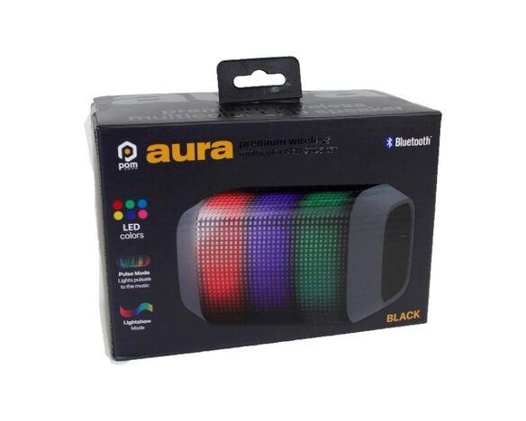 Pom Aura Premium Bluetooth Wireless Multicolor LED Speakder [Black]