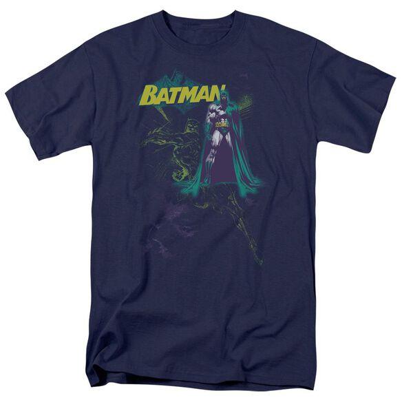 Batman Bat Spray Short Sleeve Adult Navy T-Shirt