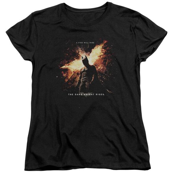 Dark Knight Rises Fire Will Rise Short Sleeve Womens Tee Black T-Shirt