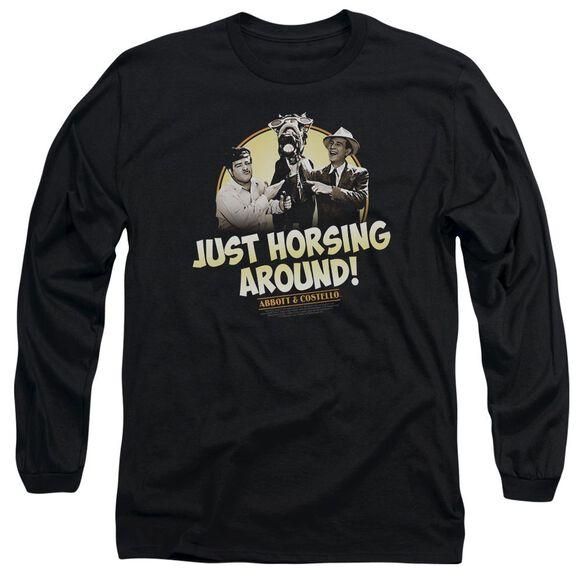Abbott & Costello Horsing Around Long Sleeve Adult T-Shirt