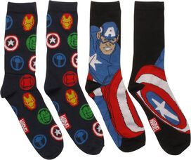 Avengers Logos and Captain 2 Pack Crew Socks Set