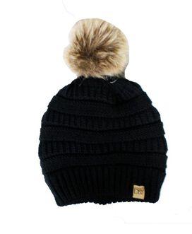 D&Y Faux Fur Pom Knit Beanie [Black]