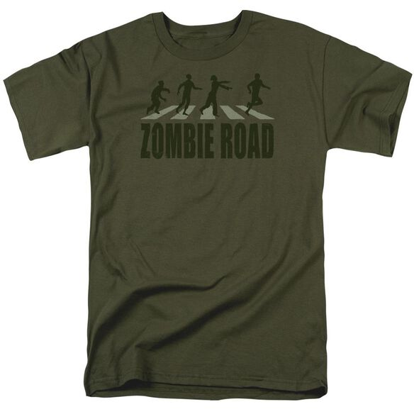 Zombie Road Short Sleeve Adult Military Green T-Shirt