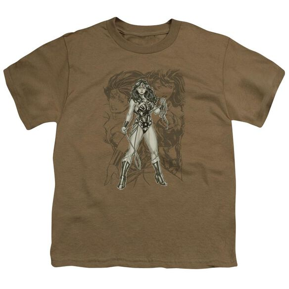 Jla Ww Sketch Short Sleeve Youth Safari T-Shirt