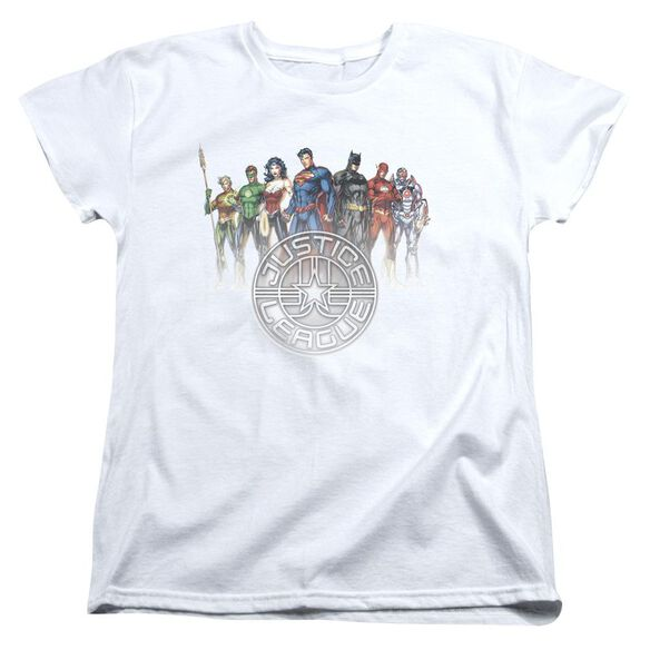 Jla Circle Crest Short Sleeve Womens Tee T-Shirt
