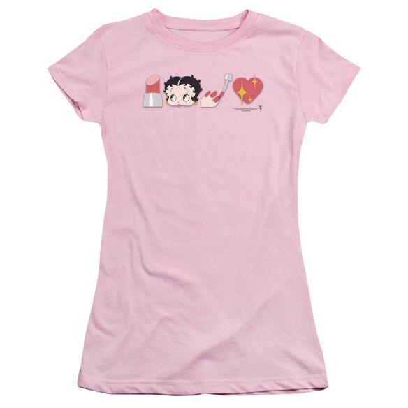 Betty Boop Symbols Short Sleeve Junior Sheer T-Shirt