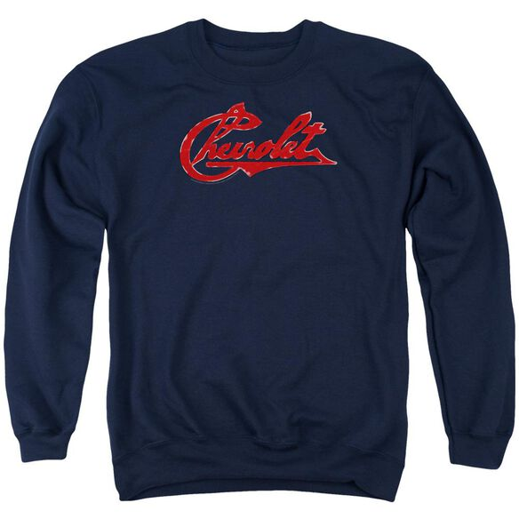 Chevrolet Chevrolet Script Distressed Adult Crewneck Sweatshirt