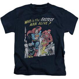 Jla Fastest Man Short Sleeve Juvenile Navy T-Shirt