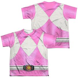 Power Rangers Pink Ranger (Front Back Print) Short Sleeve Youth Poly Crew T-Shirt