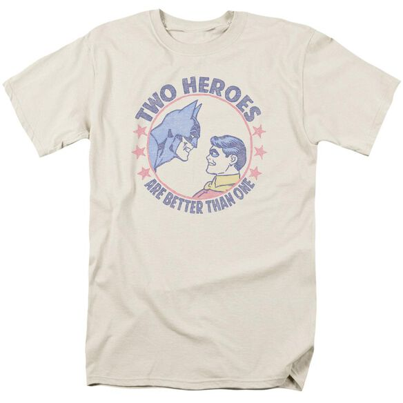 Dc Two Heroes Short Sleeve Adult Cream T-Shirt