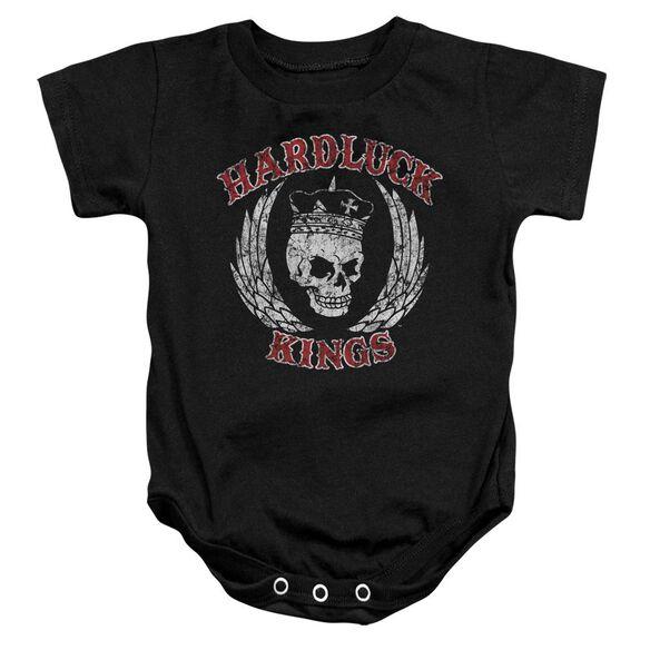 Hardluck Kings Red Letter Distressed Infant Snapsuit Black
