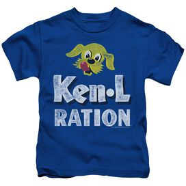 Ken L Ration Distressed Logo Short Sleeve Juvenile Royal Blue T-Shirt