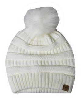 D&Y Faux Fur Pom Knit Beanie [Off White]