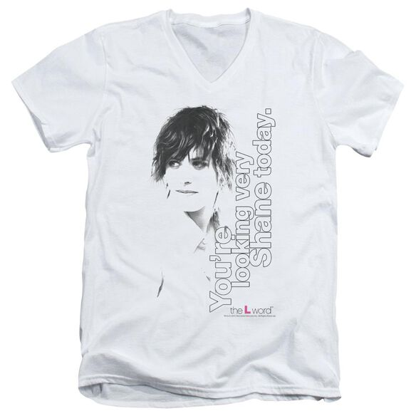 THE L WORD LOOKING SHANE TODAY - S/S ADULT V-NECK - WHITE T-Shirt