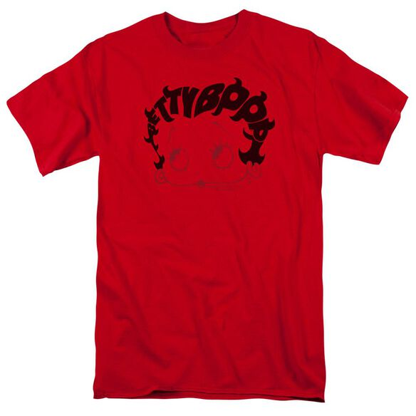 Betty Boop Word Hair Short Sleeve Adult Red T-Shirt